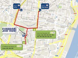 Mapa con líneas de guagua para llegar a Sinpromi